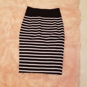 Navy blue and white striped pencil skirt
